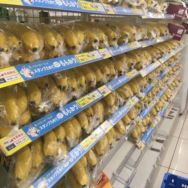 北海道で地震が発生した後、ローソン店内に大量に並んだバナナ=提供写真