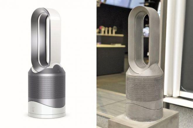 モチーフになった羽根のない扇風機「Dyson Pure Hot+Cool Link 空気清浄機能付ファンヒーター」(左)と石像
