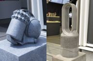 狛犬ならぬ「狛ダイソン」と呼ばれる石像。左は過去に設置されていた掃除機タイプ、右は現在設置されている扇風機タイプ