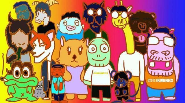 上野さんが発表準備中のドキュメンタリーアニメのキャラクター。真ん中の白いシャツを着ている生き物が、上野さんのキャラになる=本人のフェイスブックより
