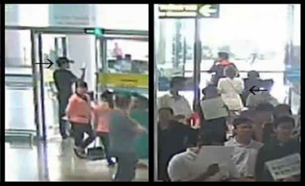 ハノイの空港で「いたずら」をしようと通行人に近づくフォン(右の矢印)と、その様子を近くで撮影するミスターYとみられる人影(左の矢印)=関係者提供