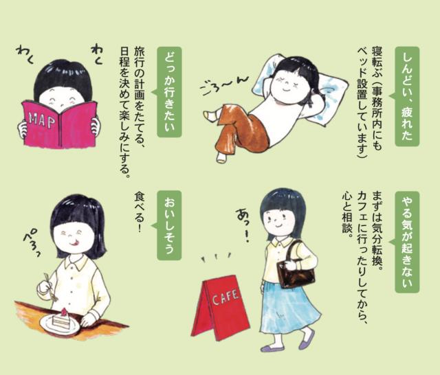 朝倉さんのエッセイは、白保さんが書いたイラストで視覚的にもわかりやすく=6号から