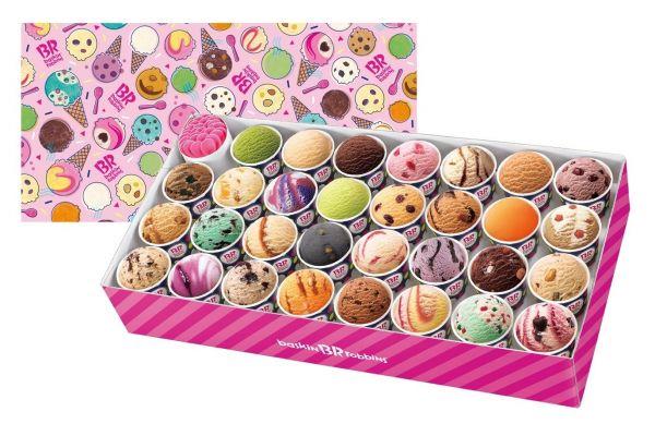 31種類のアイスがセットになった「サーティワン's 31 BOX」。左上はスプーンなので合計31種類です