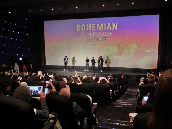 応援上映終了後、ラミ、グウィリム、ジョンの3人が登場した=東京・TOHOシネマズ 日比谷