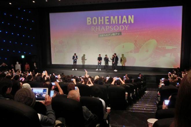 TOHOシネマズ日比谷で開かれた応援上映には、フレディ役のラミ、ブライアン役のグウィリム、ジョン役のジョーの3人がサプライズで一緒に鑑賞した