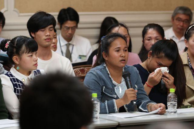 外国人労働者の受け入れ拡大に向けた出入国管理法改正案の審議が始まった国会では、日本についての印象を技能実習生が語った=2018年11月13日、国会内、越田省吾撮影