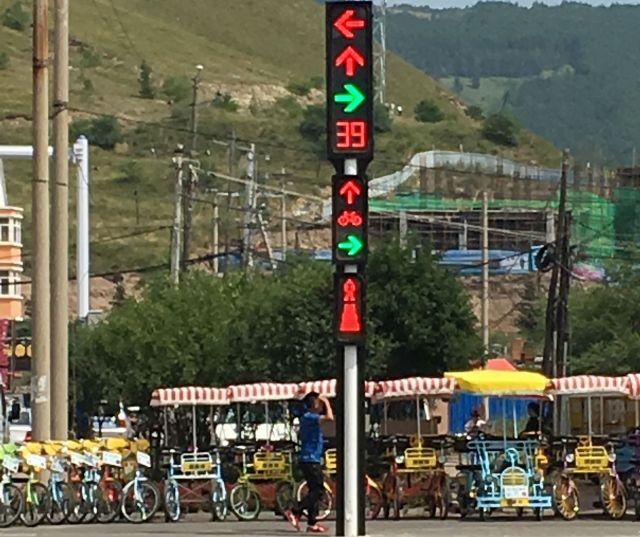 中国・アルシャンの信号機