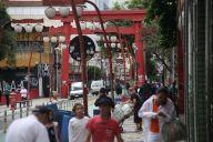 ブラジル・サンパウロの「東洋人街」リベルダージ=2018年10月27日、岡田玄撮影