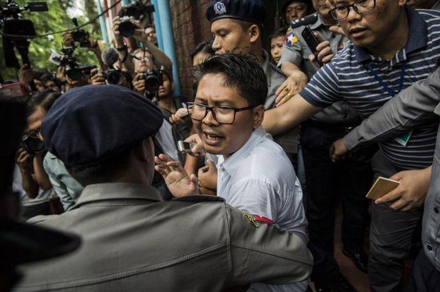 「国家機密に触れた」として懲役刑を受けた、ワローン記者。現在上訴し、裁判を続けている=2018年9月
