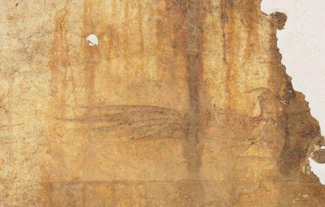 キトラ古墳の朱雀=文化庁提供