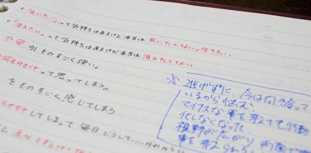 加藤さんが考え事を書き込んだ紙。青字は中澤さんからのコメント