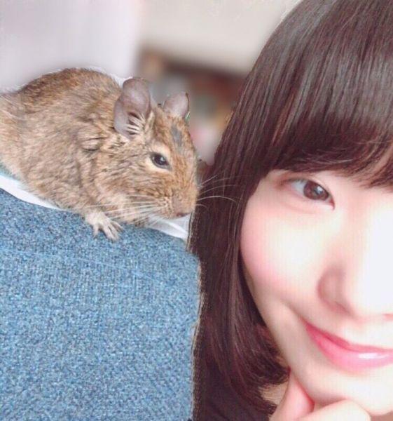 自宅で一緒に暮らすデグー「きすけ」とツーショットを撮る、声優の本宮佳奈さん