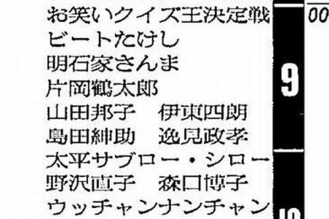 平成元年12月31日のテレビ欄。「お笑いクイズ王決定戦」の出場者には、ビートたけしさんのほか、明石家さんまさん、片岡鶴太郎さんらの名前