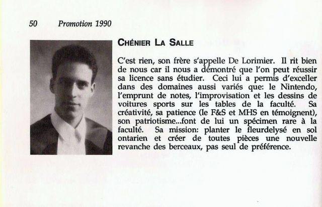 大学の卒業文集で、勉強をせず、「ニンテンドー(le Nintendo=北米版ファミコン)に秀でた」と評された=ラサールさん提供