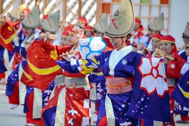 高知の名物、よさこい祭り=2017年8月12日、加藤高志撮影