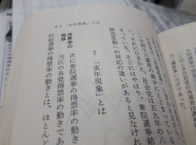 石川真澄さんが著書「データ 戦後政治史」(1984年、岩波新書)で「亥年現象」を説明した項
