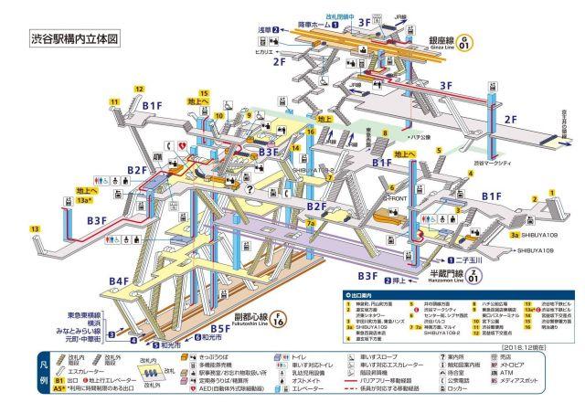 東京メトロ渋谷駅の構内図