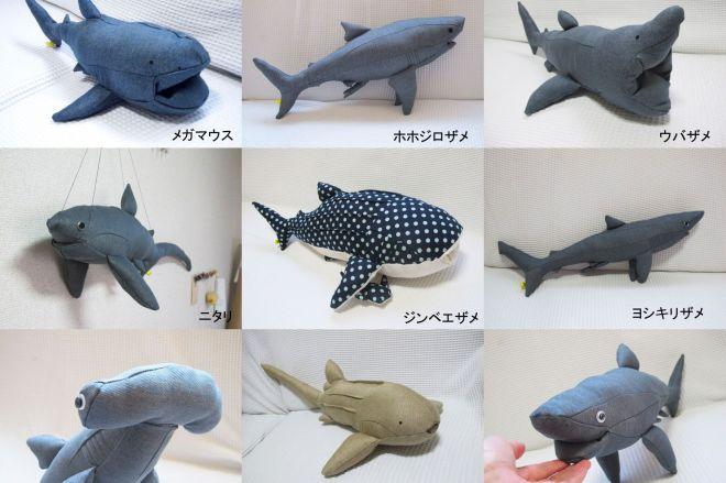サメだけで16種類もラインナップされています