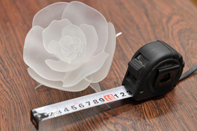 イルミネーションのモデルになりそうな花を観察するには欠かせないメジャーと、バラのオブジェ=2018年12月17日、栃木県足利市、伊ケ崎忍撮影