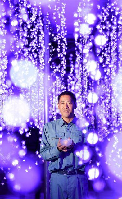 「奇蹟の大藤」の中に立つ長谷川広征さん。手に持つバラのオブジェも、本物を何度も観察しながらデザインした=栃木県足利市、伊ケ崎忍撮影