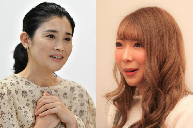 2人娘を育てる俳優・石田ひかりさん(左)と、3児の母で元ギャルママモデルの日菜あこさん。育児に関する本音をぶつけ合いました。