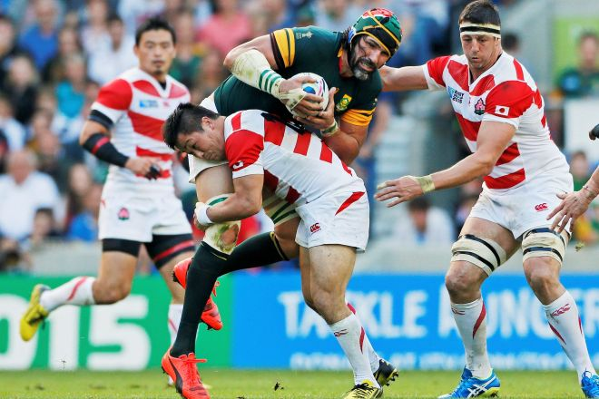2015年イングランド大会の南アフリカ戦。「スポーツ界最大の番狂わせ」といわれた