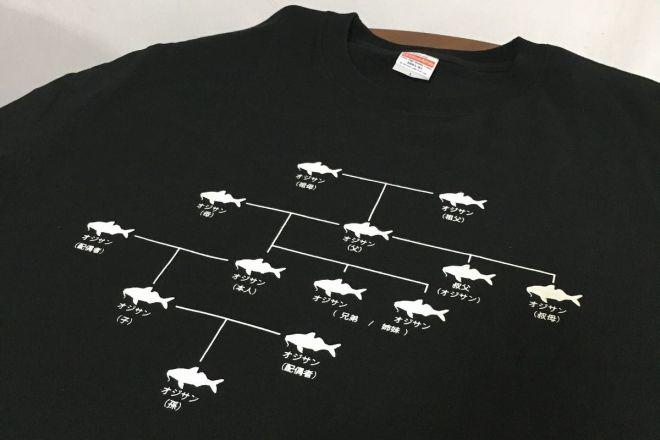 話題になっている「オジサン家系図Tシャツ」
