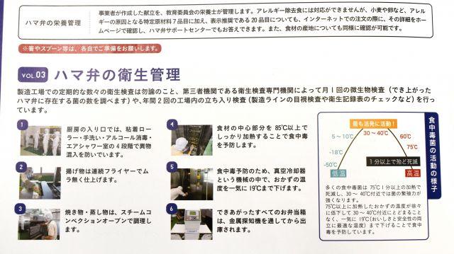 ハマ弁パンフレットにある「衛生管理」の説明。「19度まで下げます」などとある