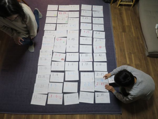 これまで書いたカレンダーを並べると、床一杯に広がった