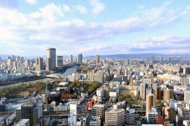 会議室からは大阪市内を一望できる