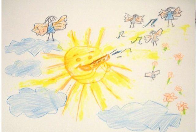 リダさんが3歳の時に描いた絵。母親に「なんで太陽が歌って踊れるようにせずに、人々は殺し合うの」と尋ねた。