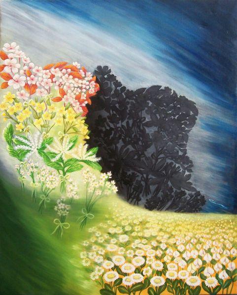 リダさん作の油絵「イランの魂」