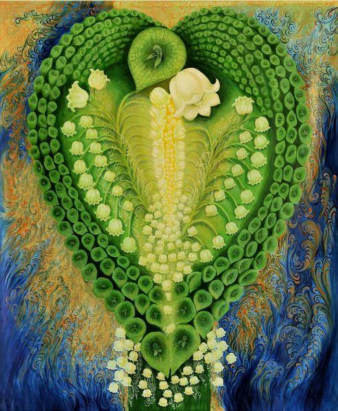 リダさん作の油絵「愛のデュエット」
