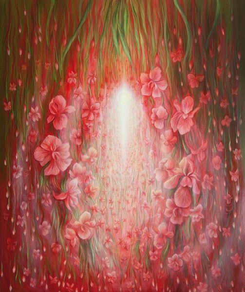 リダさん作の油絵「愛の鼓動」