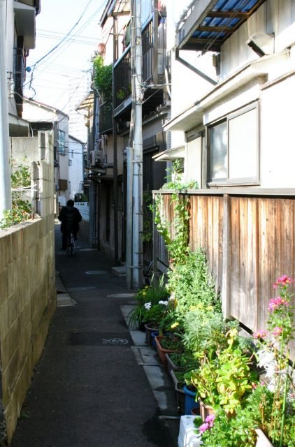 狭い路地の両側に家が立ち並ぶ木造住宅密集地域