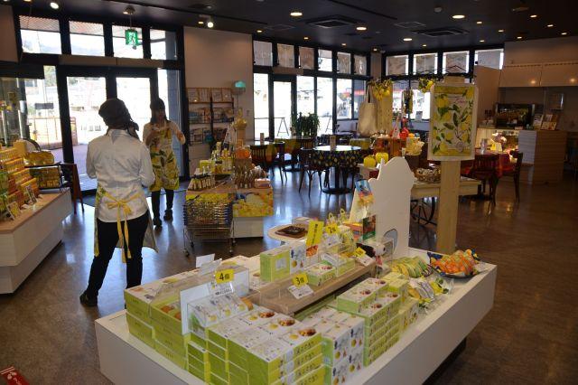 あらゆるレモンの加工品が展示されている店内=広島県尾道市瀬戸田町
