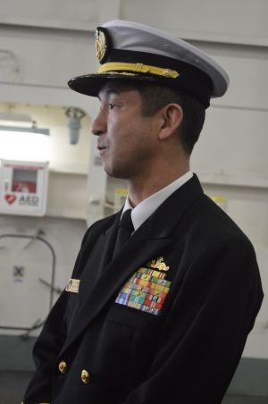 護衛艦いずもの本山勝善艦長=3月13日、横須賀港のいずも艦内