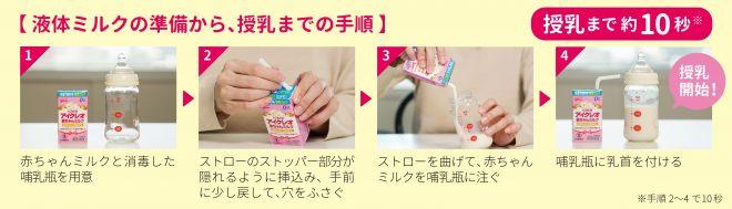 江崎グリコの液体ミルク「アイクレオ 赤ちゃんミルク」の使い方