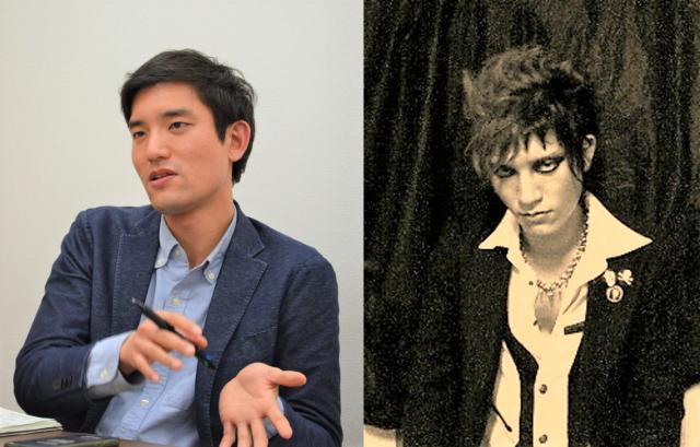 左側は記者の神戸(30)、もう一方がバンドマン時代の神戸(19)。