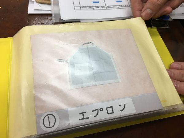 昼食のセッティングは、順番を示す数字と絵でイメージできるようにファイルにしています。慣れた子どもたちは使いませんが……。①はエプロンです=東京都文京区の「富坂子どもの家」