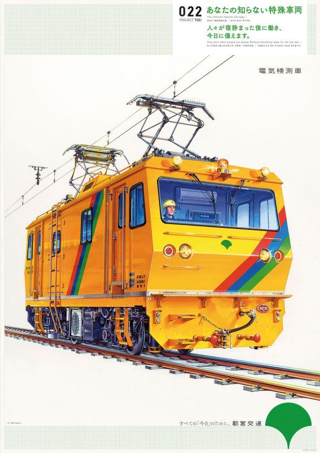 電気を供給する架線の点検を行う「電気検測車」のポスター。大西さんが描きました