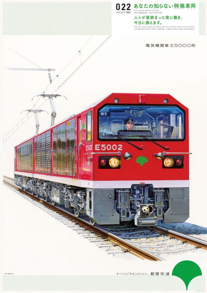 大江戸線の車両を牽引するための「電気機関車 E5000形」のポスター。大西さんが描きました
