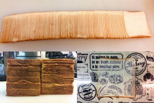 99枚にスライスされた1斤の食パン