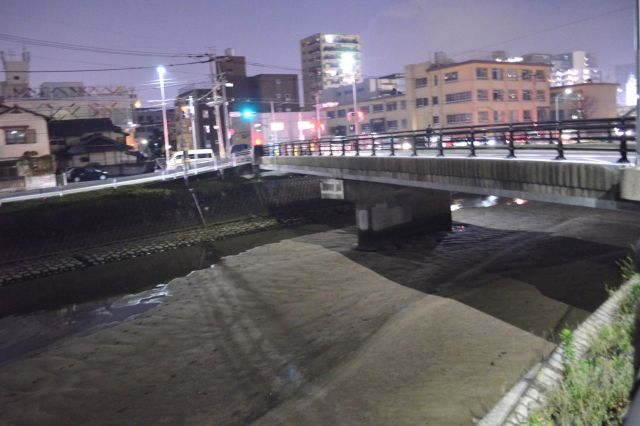 草香江新橋周辺。水があるのは奥の方に見える部分だけ。