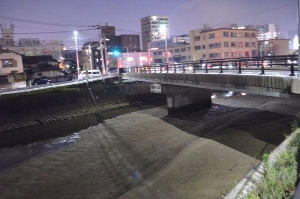 草香江新橋の川の様子。時間帯によっては水位がかなり低い