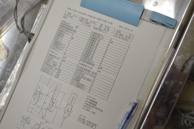 澤井さんが調査の際に記入しているチェックシート。部位ごとに50近くの計測ポイントがある