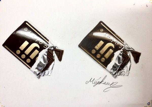 みやかわさんが過去に発表した作品。左が本物で、右が絵です