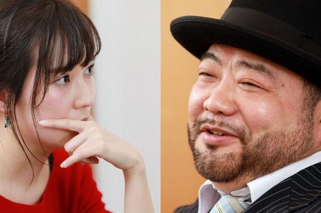 文章を書くことと「私怨」について語る髭男爵の山田ルイ53世さんと、女優やアイドルを経てライターになった大木亜希子さん=瀬戸口翼撮影