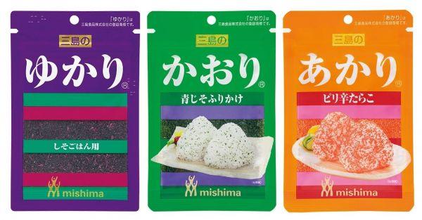 三島食品の三姉妹。左から「ゆかり」「かおり」「あかり」