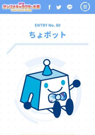 サンリオキャラクター大賞にエントリーしている「ちょボット」。